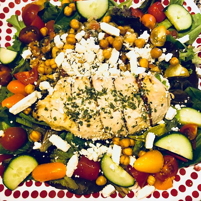 """SALAD OF THE DAY"" MIDEAST BEAN SALAD Grilled Chicken over a 3 Bean Salad with Crispy Chickpea, Feta, Cucumbers & Tomatoes www.zuzuscatering.com/cafemenu #wakefieldma #wakefieldmerchants  #experiencewakefield"