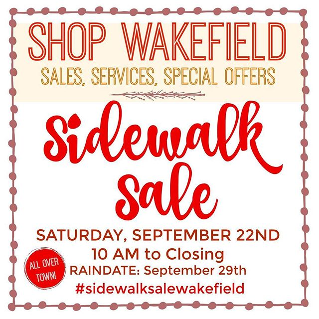 Town Wide Wakefield Businesses hit the sidewalk from 10am-3pm today! So many great shops & businesses are offering great deals  Show us what you purchased from a participating business and your Drink or Chips are on ZuZu's when you buy breakfast or lunch today!  As a bonus we are hosting The Merry Lion, new children's store in town, on our sidewalk today www.shopthemerrylion.com  Other Participating Merchants: A Unique Salon & Spa Alano Barks & Bubbles Brother's Restaurant Create Artisan Studio Fringe on Main Gone to The Dogs Greenwood Wine & Spirits Justin Jones at Prudential Kidcasso Art Studio Move2Joy Yoga Studio Prime Self Storage RADA Boutique - Wakefield Sharon's Pet Services The Sweetbay Shop The Bread Shop The Savings Bank The T Stop Vanity Hair Salon Wakefield Co-operative Bank ZuZu's Cafe & Catering #wakefieldmerchants #sidewalksalewakefield #sidewalksale #wakefieldma