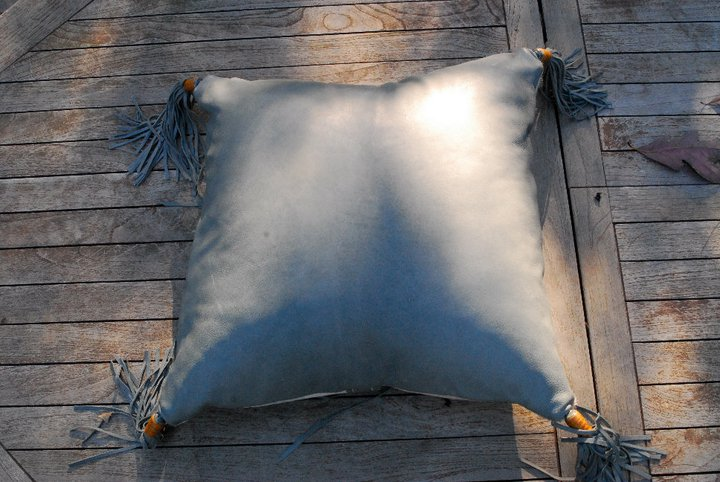 Two Fools Leather Goods, hair on hide leather pillow, grey