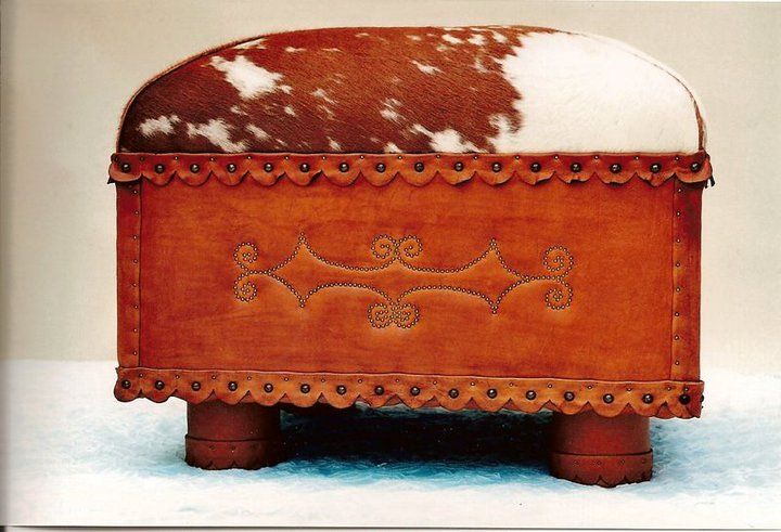 Two Fools Leather Goods, custom hair on hide ottoman
