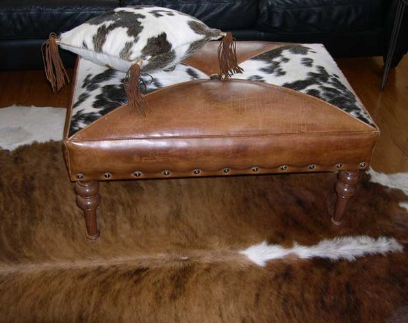 Two Fools Leather Goods, custom ottoman, hair on hide 2