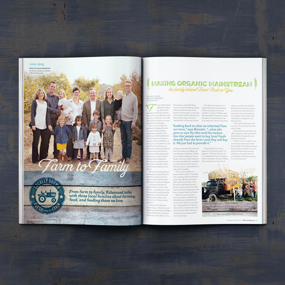 Editorial Design for Kidaround Magazine Farm Spread