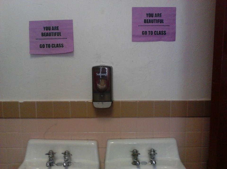 the-absolute-funniest-posts: the-douchebag-diaries: My principle at school took the mirrors down in the bathrooms and put these there instead.. My lovely followers, please follow this blog immediately!
