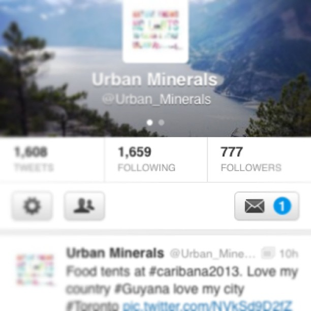 #urbanminerals just hit 777 followers! Whaaaat! :D #attainingsimplegoals #sweet #canIgetaheckyes