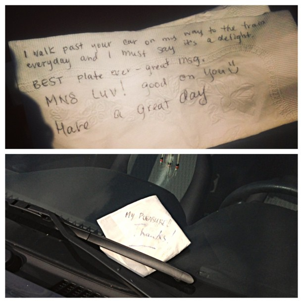 I got a response! Eeeeeee! Lol so happy to be communicating via napkin and windshield ;) #picstitch