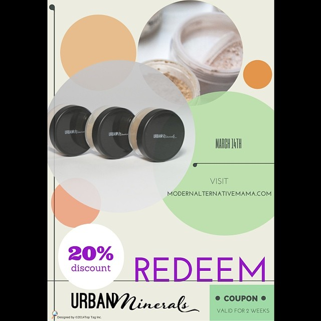 Yay! Today is the kickoff of #urbanminerals 1st sale!! Check out the awesome review from Modern Alternative Mama ( http://www.modernalternativemama.com/blog/2014/03/14/march-deals-post-get-free-samples-discount-codes/#.UyMK-3-9KK0 ) and get the coupon code for 20% off