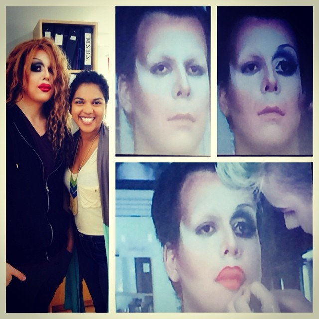 "I got to have a lunch and learn session at my school #complections and watch one amazing makeup artist Matt ""break"" the bones of a male face to reconstruct them into the feminine proportions of a female face. I have such a better understanding of, love and respect for people who rock the #drag look. That ish is intense and time consuming but totally worth it for the outcome. Anyone willing to let me practice? 😉 #dragisfab #drag #dragqueen #beauty #beautyschool #beautiful"