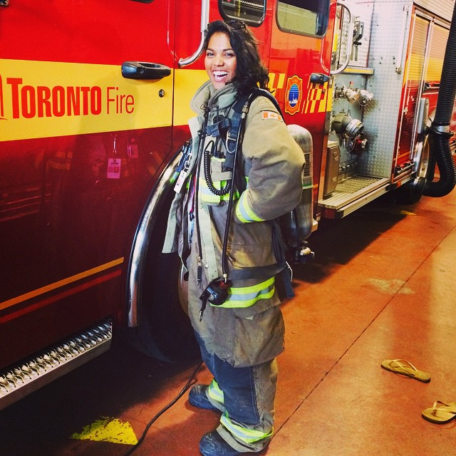 #tbt to that time I visited my big bro in law at his firehall and basically turned into a HUGE KID. I got to sit in the fire truck, try on his gear, which for the record weighs a ton, hold the jaws of life 😳, and eat chili with the guys for dinner…all in all a great memory and day! #firefighters are no joke! #servicetohumanity #firetruck