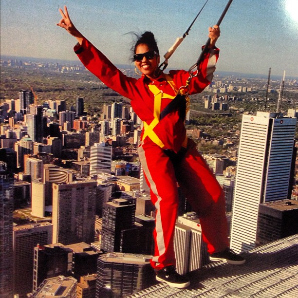 Oh shit I just did the #edgewalk at the #cntower! Yeah baby!!! #toronto #torontolove #adrenaline #ibelonginthesky #peace   So today I got to do something uniquely Torontonian - I did the Edgewalk at the CN Tower. And for a moment it was like everything stood still. I was at what you could call the crown chakra of the city and my mind was just on cloud nine. I felt amazingly happy and exuberant. There are no other words. I got to hang off the CN tower and yell at the top of my lungs and just play around, but through it all I just remained feeling super grateful. It was free after all because of an amazing team build I got to do through work. An experience I won't soon forget.   I will write more for tomorrow but now, back on the ground, I have to wait for the next train home because I missed mine. Oh well, it just gives me more time to think and plan. All I have to do now is take that elevated perspective I had and just run with it. Yay!