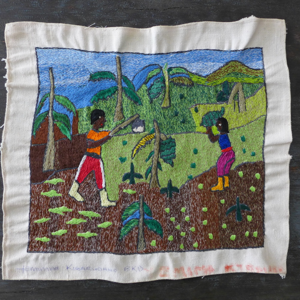 Artist: Emma Kiroaruoaho. All work is first hand drawn on the fabric. Most pieces depict landscapes or 'snapshots' of traditional Ugandan activities.