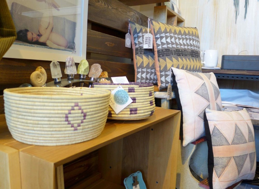 Baskets - Lucy & Jo with Friends, Crystal Wine Stoppers - Pietra Gallery, Pillows - Andria Green