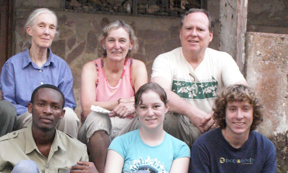 Nancy and her family with Dr. Jane Goodall and researcher at Gombe National Park, Tanzania