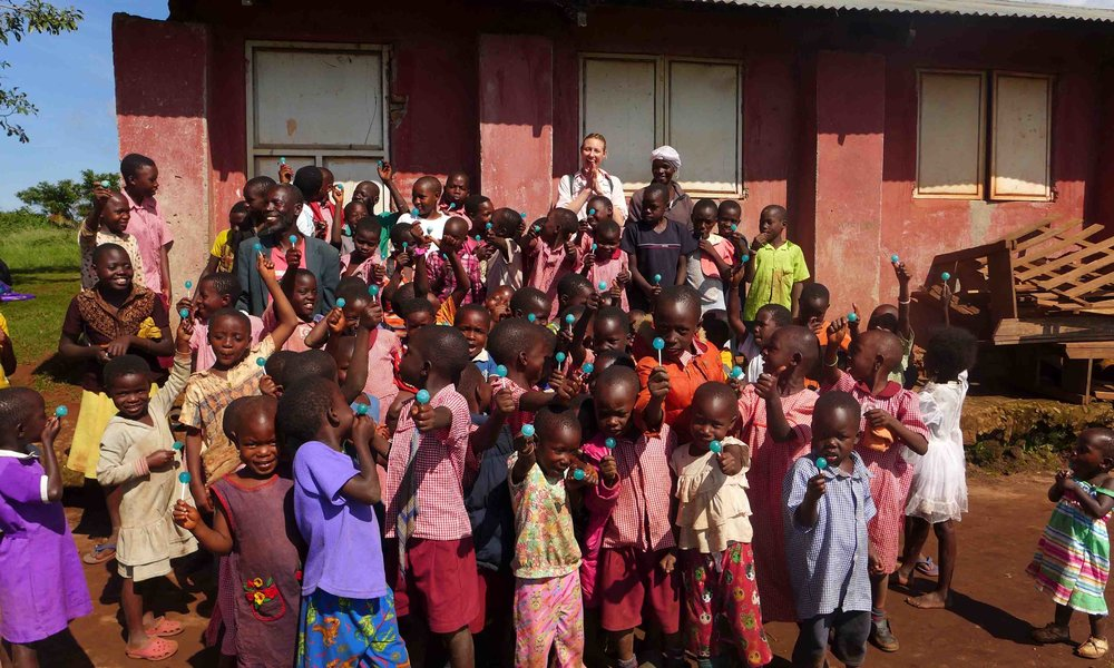 During our May 2016 visit we brought school supplies & lollipops to the children on Myende.