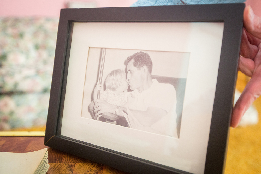 A framed photo of Kim and Rollin when they were younger. After nearly eight years of traveling back and forth from Ohio to care for her father and her sister, Kris now has some of her freedom back in her life.