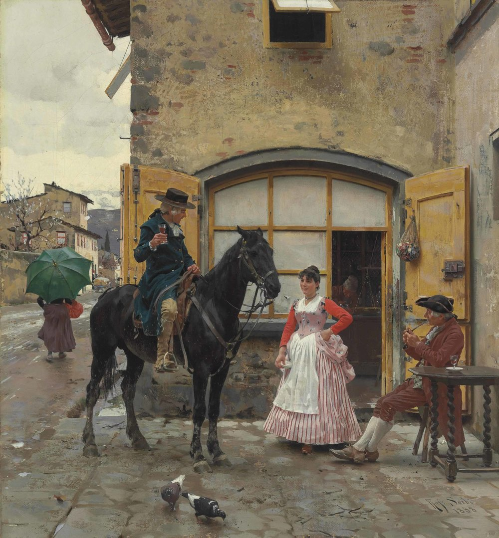 Raffaello Sorbi Stopping for a Drink 1888oil on canvas 20 x 18¼ in. (50.8 x 46.35 cm.) USD 56,250.jpg