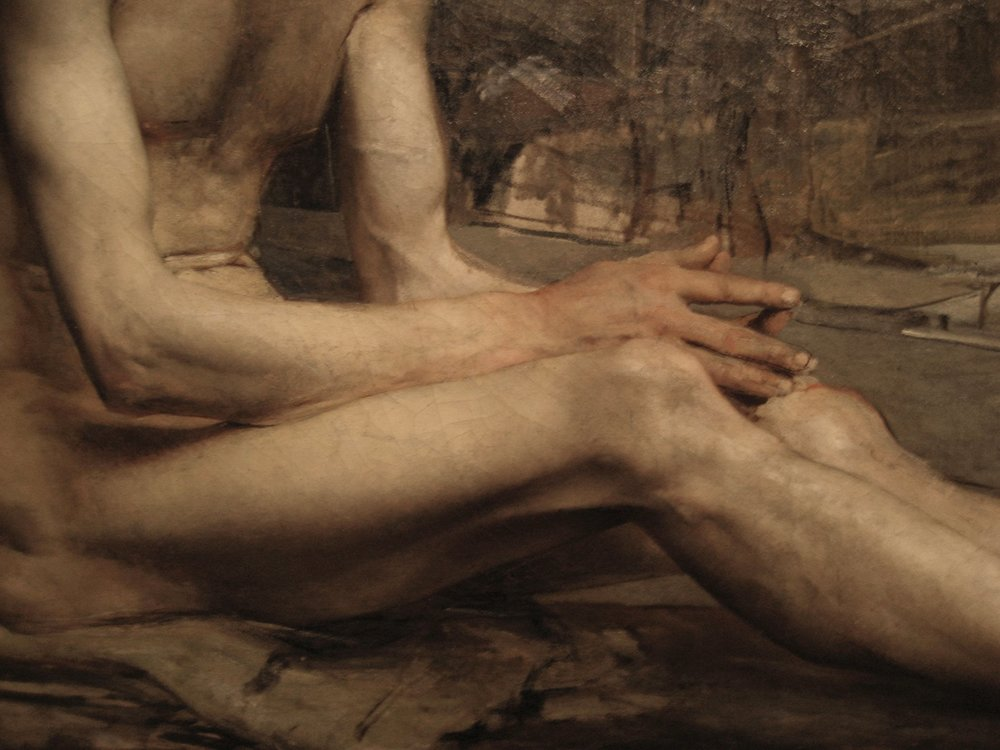 This detail of his unfinished Job shows what the Diogenes might've looked like if the modeling had been completed all over.