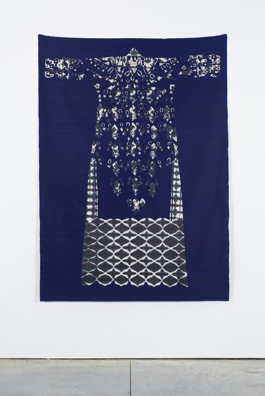 Traveler (Departure), 2014  Indigo dyed handmade paper collage mounted on dupioni silk  72 x 50 inches