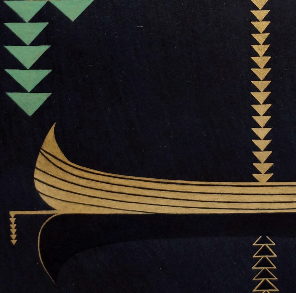 Khizrnama (Bark) , 2013   detail  24-karat gold and malachite on handmade indigo wasli paper  17 x 13 inches