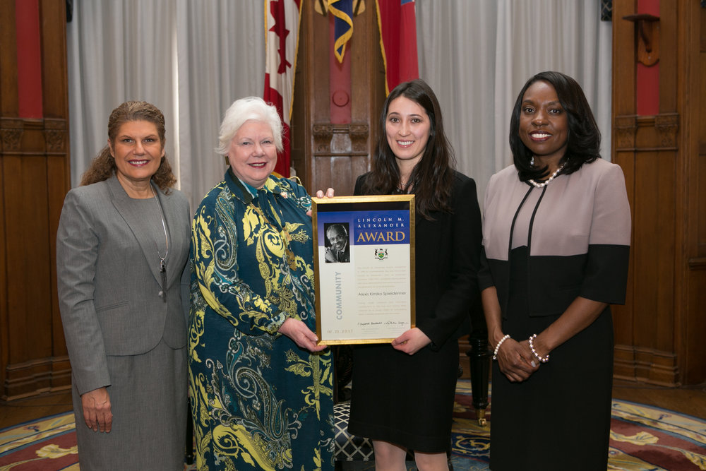 The Honourable Laura Albanese, Minister of Citizenship & Immigration, The Honourable Elizabeth Dowdeswell, Lieutenant Governor of Ontario, Alexis Spieldenner, and The Honourable Mitzie Hunter, Minister of Education