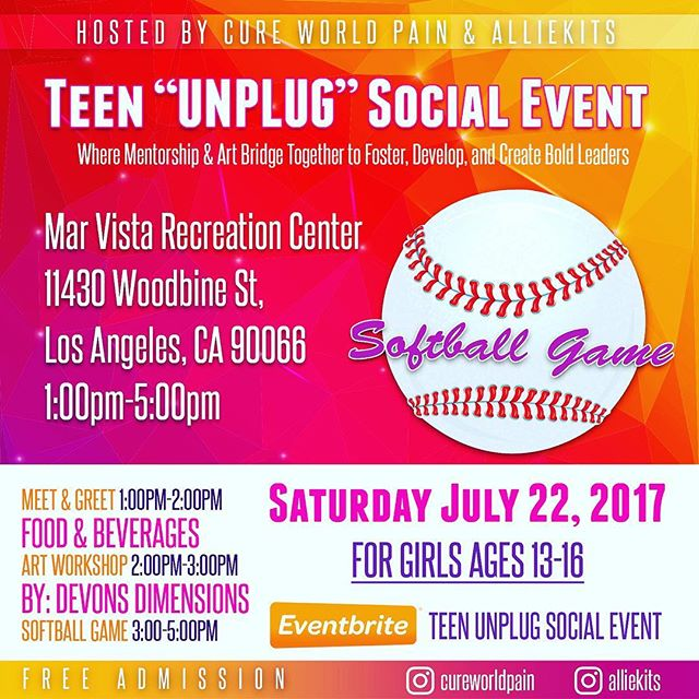 """Don't forget to register for our Teen """"UNPLUG"""" event July 22, hosted by Cure World Pain & Alliekits. The first of many """"UNPLUG"""" events that offer a space, place, and platform for teen girls to do away with their electronic devices, if only for a few hours.  Our aim is to get girls involved in personal interaction, encourage confidence through activities that foster personal & team building skills, and to use these skills in developing a streamline toward their personal gifts that inspire and empower bold leaders.  http://www.alliekits.com/events"""