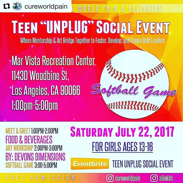"""#Repost from @cureworldpain with @regram.app from @alliekits...Don't forget to register for our Teen """"UNPLUG"""" event July 22, hosted by Cure World Pain & Alliekits. The first of many """"UNPLUG"""" events that offer a space, place, and platform for teen girls to do away with their electronic devices, if only for a few hours.  Our aim is to get girls involved in personal interaction, encourage confidence through activities that foster personal & team building skills, and to use these skills in developing a streamline toward their personal gifts that inspire and empower bold leaders.  http://www.alliekits.com/events  #teens #educateeachother  #rememberthesedays #childrenacrosstheworld #support #mentor #leader #mentorliftstyle #tagafriend #talented It's free!!!!! Our children are the future."""