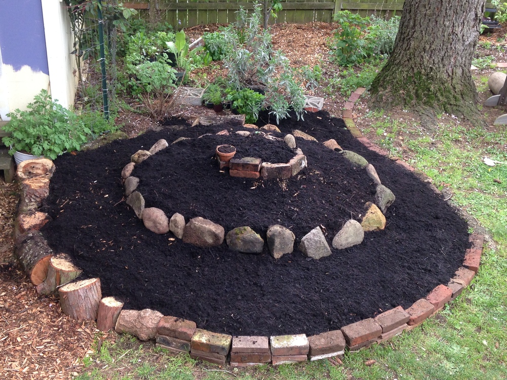 Herb spiral with compost added