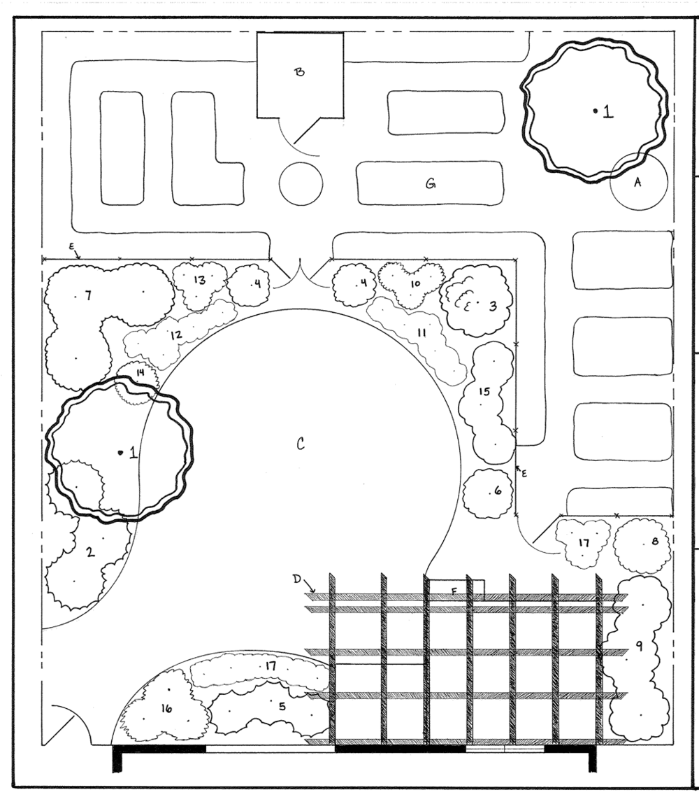 Final design with tons of in-ground veggie planting beds, space for the dog that's separate from the veggie garden, and entertaining space surrounded by beautiful plants.
