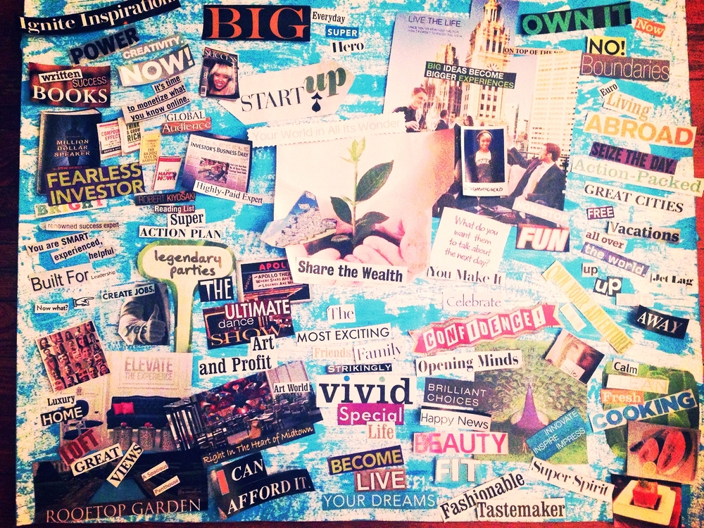 Photo of my 2015 vision board. My cut outs before I glued them in place. Follow The Adventures @TheHashtagHERO On Instagram!
