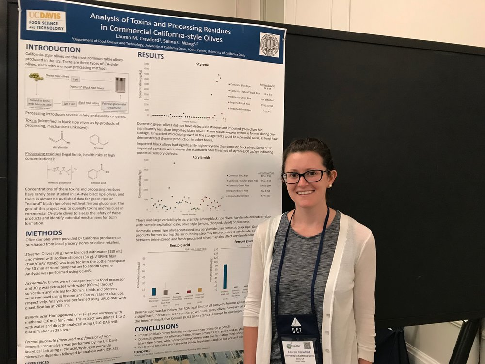 - Lauren received the 2018 North American Chemical Residue Workshop Student Scholarship Award and presented a part of her PhD work on black-ripe table olives at the 55th annual North American Chemical Residue Workshop in Florida, July 22-25, 2018. It was a great experience for her!