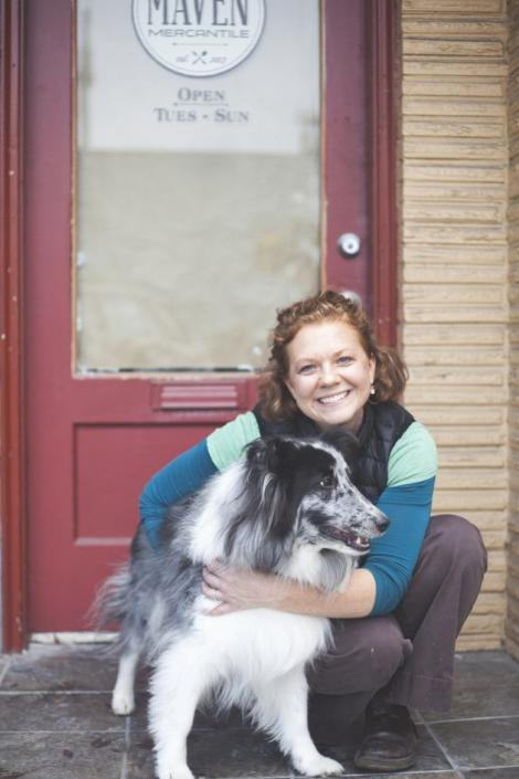 Heidi Pomeroy and neighborhood celebrity, Piper, post in front of the soon to be opened Maven Mercantile just days before their first days of business in October of 2013.