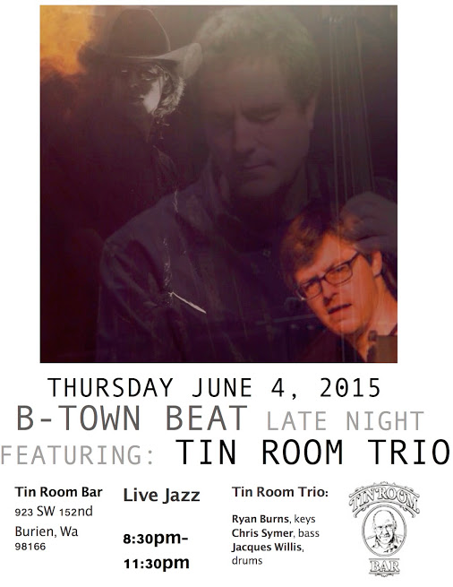 This month's after party will be hosted by the Tin Room. Make sure to drop by and see Ryan, Chris, and Jacques jammin'! Thursday June 6th, 2015, 6-9pm The Tin Room 923 SW 152nd St