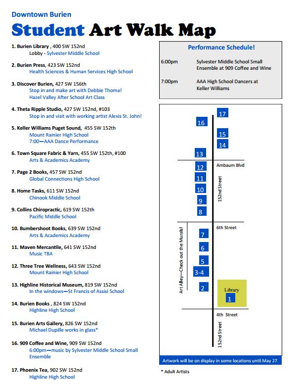 Student Art Walk Map