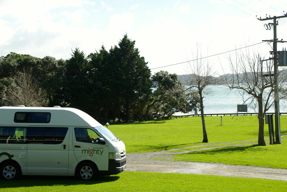 A nice campground by the water in New Zealand