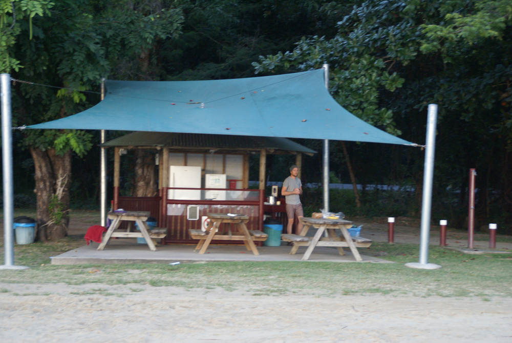 The camp kitchen on Ellis Beach