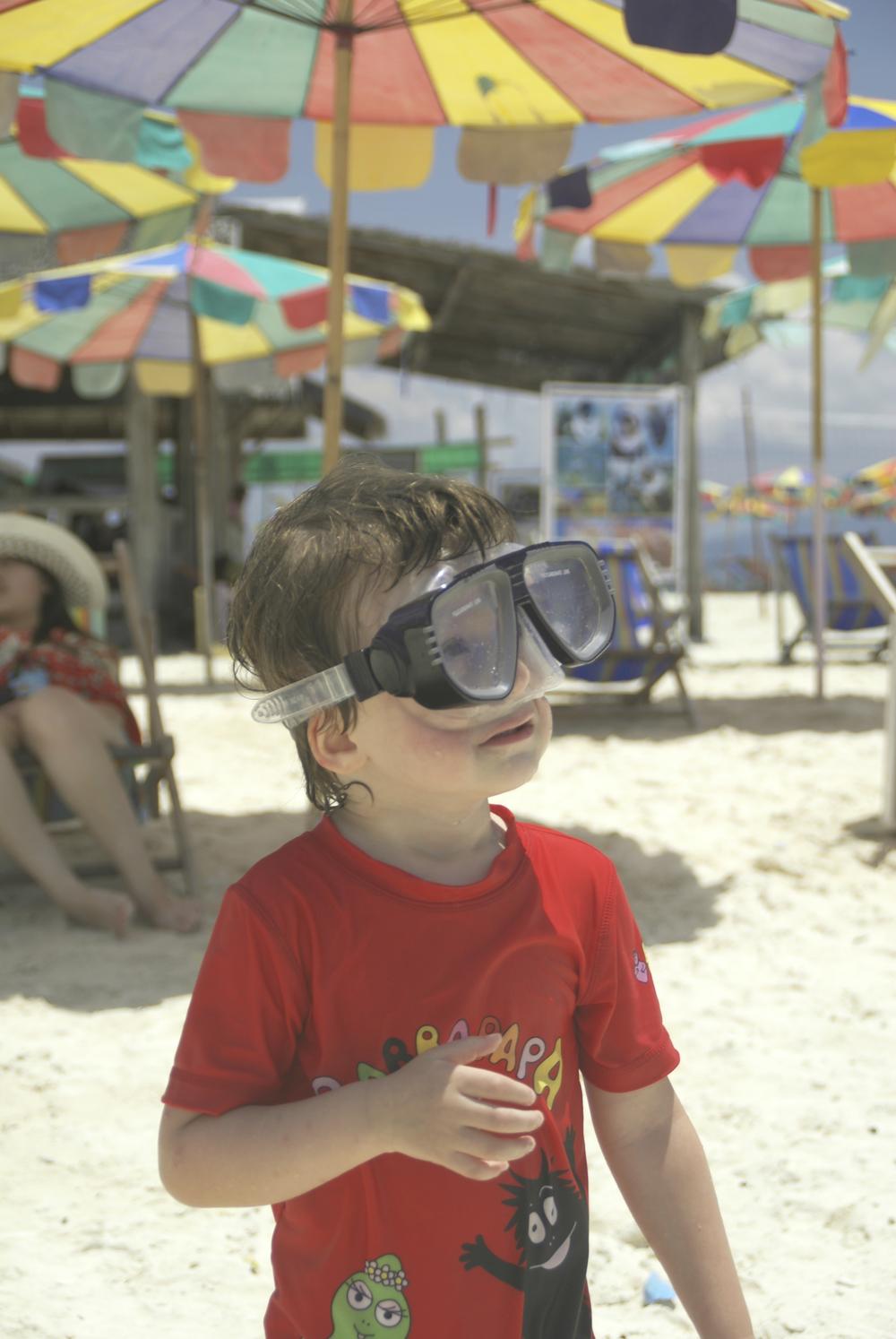 Anton ude for at snorkle på sin 3-års fødselsdag