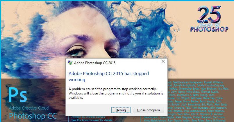 Adobe Photoshop CC 2015 Stopped Working