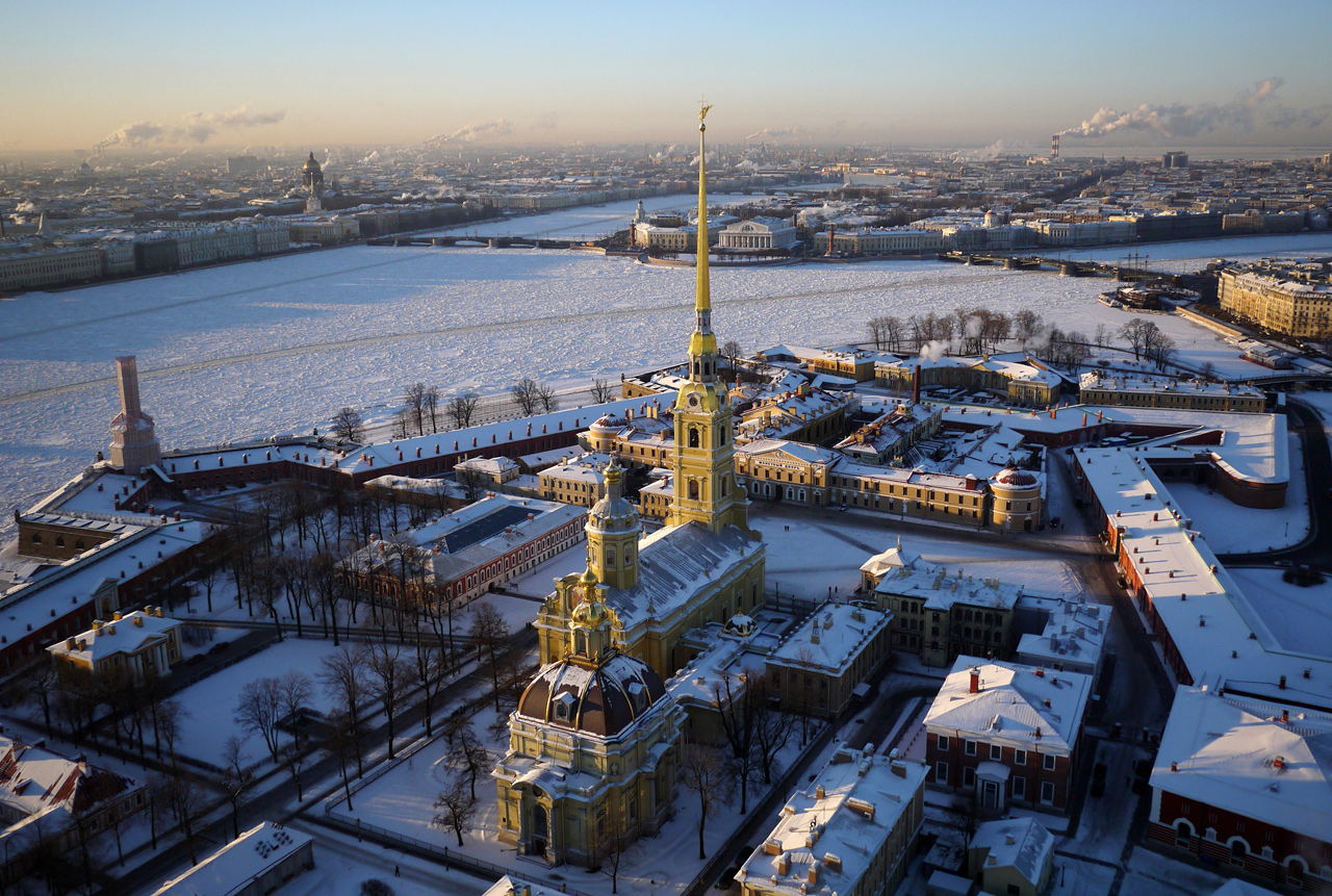 The Peter & Paul Fortress, Saint Petersburg's founding point. At the time of the fort's construction the islands of St. Petersburg were populated only by a ragtag collection of fishermen's huts. The area was deemed