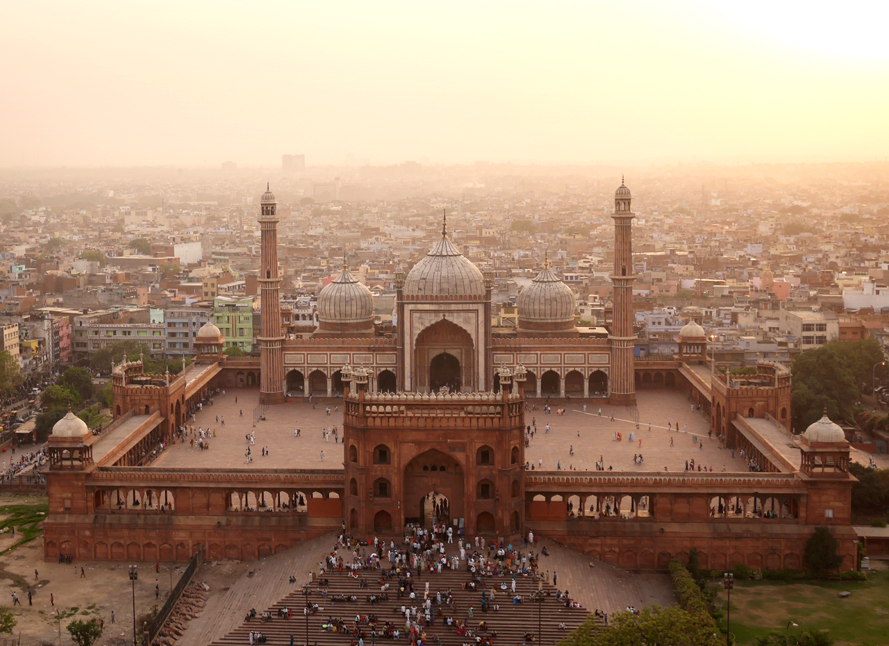 Jama Masjid, the heart of Islam in India. The red sandstone structure was built under the orders of theShah Jahan, the same Emperor whocommissioned the Taj Mahal.