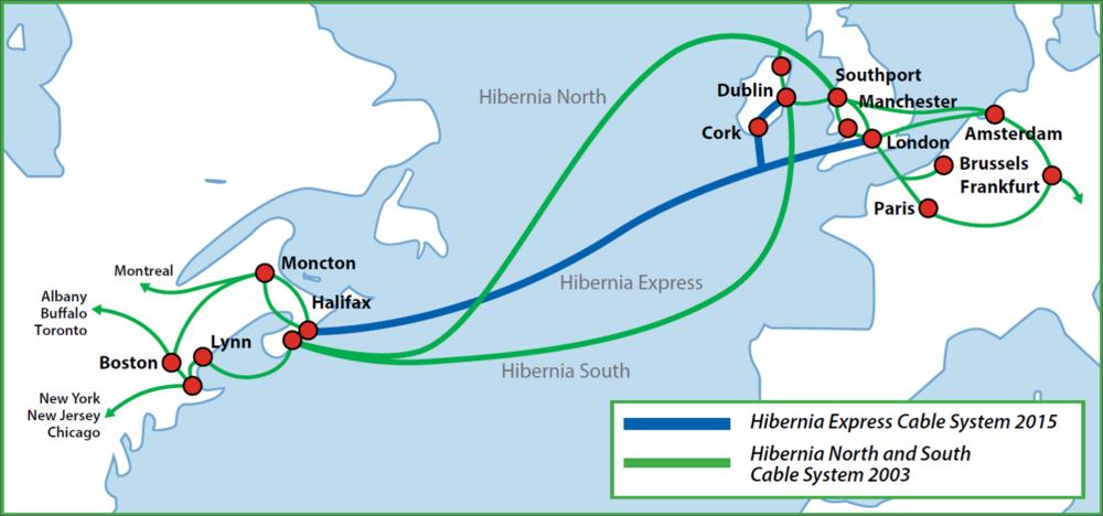 Hibernia north, south and express map and back hauls