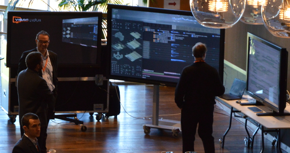 The VISAVI exhibition centered on the Gjøa LivePlan running on a 84-inch Ultra-HD multitouch display.