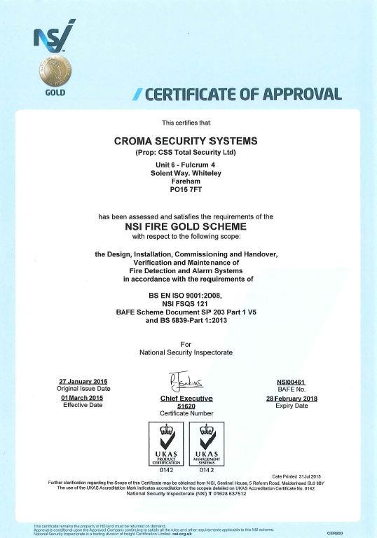NSI Fire Certificate