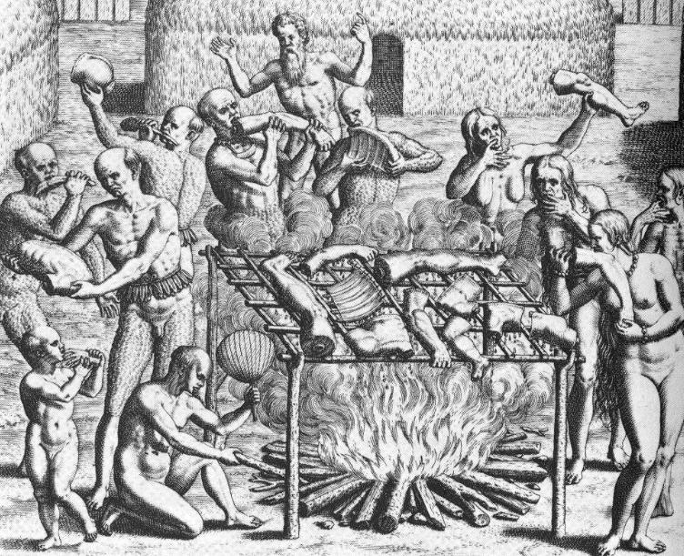 Cannibals , Gravure de Théodore de Bry, 1562