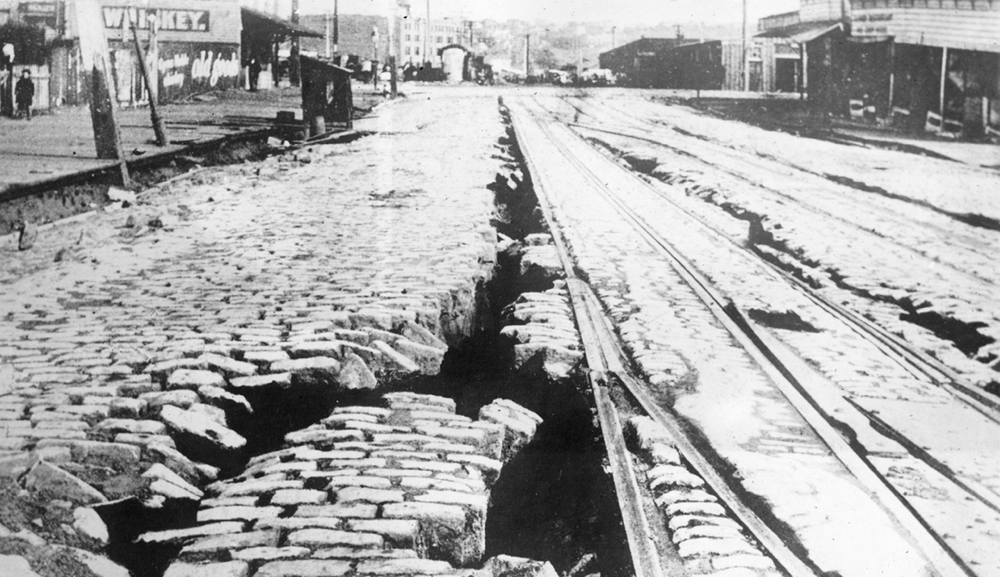 San Francisco ground fissure along cable car rails, 1906, California State Library