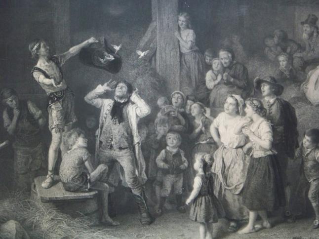 Magician Show, Le Saltimbanque Der Taschenspieler, The Mountebank Peint Par Louis Knaus Grave Par Paul Girardet