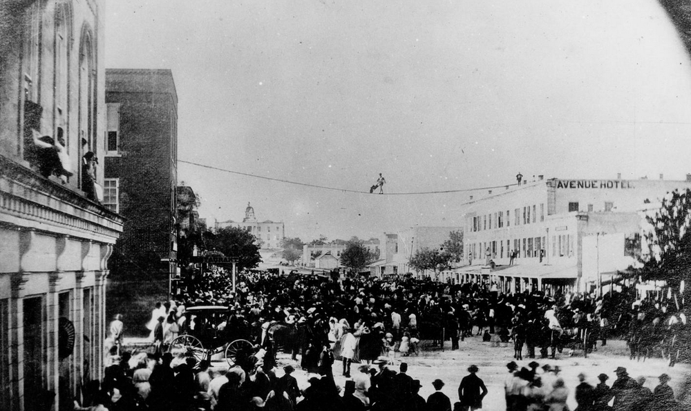 Tightrope walker above Austin, Texas (1867)