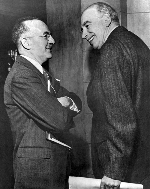 John Maynard Keynes and Harry Dexter White at first meeting of the new IMF Board of Governors, March 1946