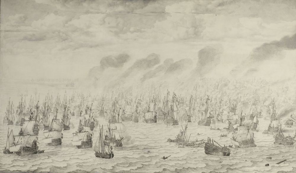The Battle of Scheveningen in 1653 during the First Anglo–Dutch War.  Image from   Military Wikia