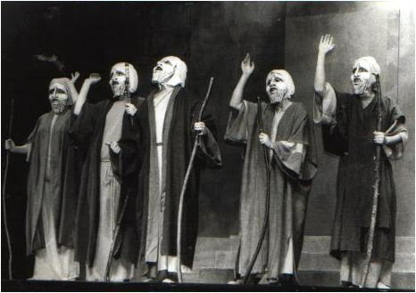 Image of Greek chorus with acknowledgment to Joukowsky Institute, Brown University