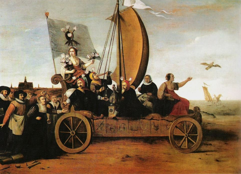 Wagon of Fools by Hendrik Gerritsz Pot, 1637,  representing the Dutch Tulip Mania and the quest for riches... Image with acknowledgment to Wikipedia