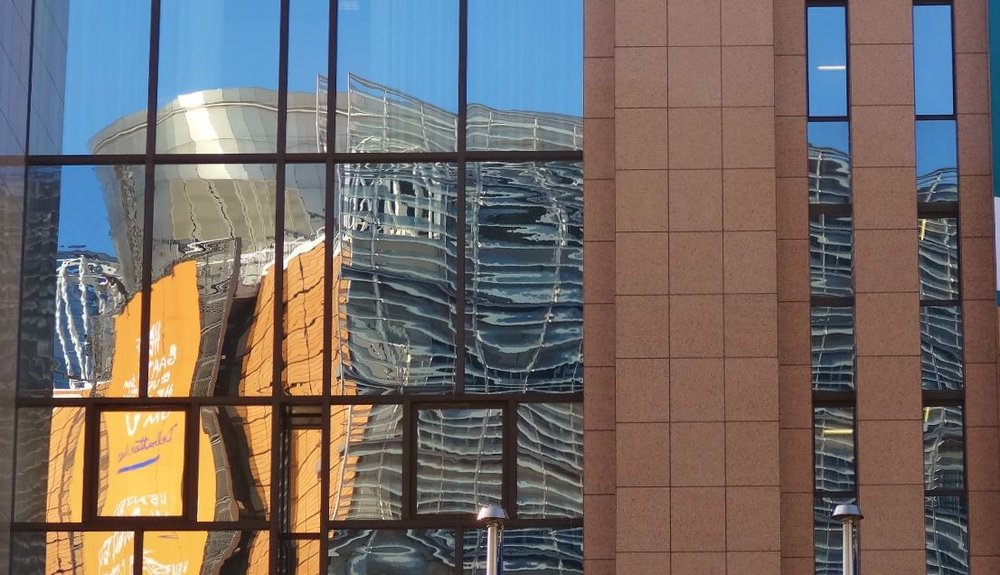 The Berlaymont building, Brussels HQ of the European Commission, refracted. Image copyright Jeremy Smith